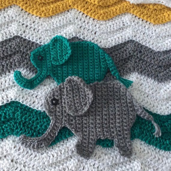 Crochet Elephant Applique Pattern; Jungle Nursery Crochet ...