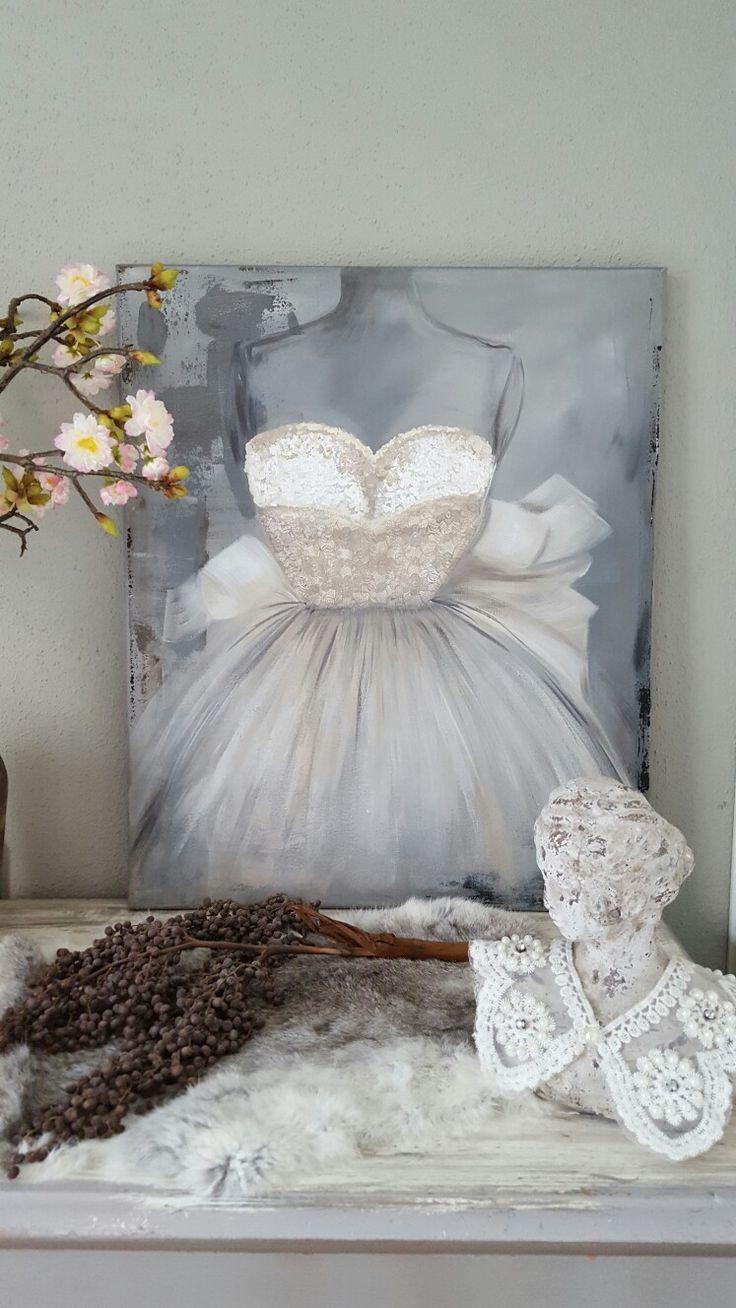 Schilderij 'Vintage Dress parel' 50x60cm www.schilderijenbydini.com