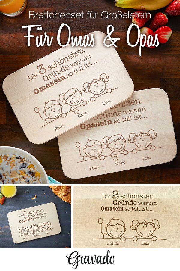 Das Brettchenset Mit Persönlicher Gravur Ist Ein Tolles Geschenk Für Oma Und Opa Gesichter Der Enkel Werden Namen Graviert