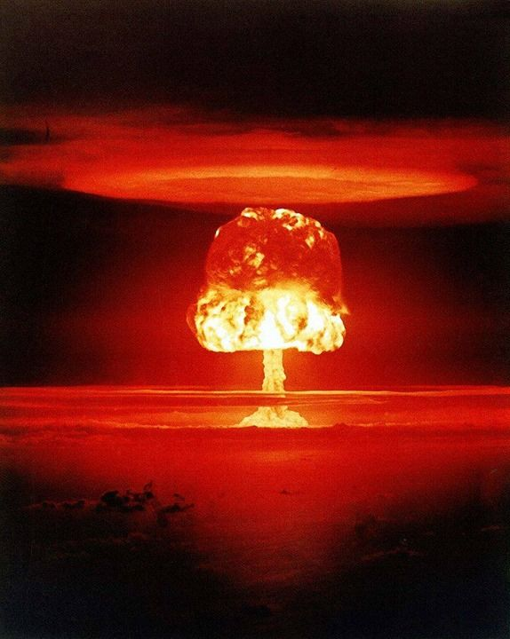Nuclear weapon test Romeo (yield 11 Mt) on Bikini Atoll. The test was part of the Operation Castle. Romeo was the first nuclear test conducted on a barge. The barge was located in the Bravo crater.