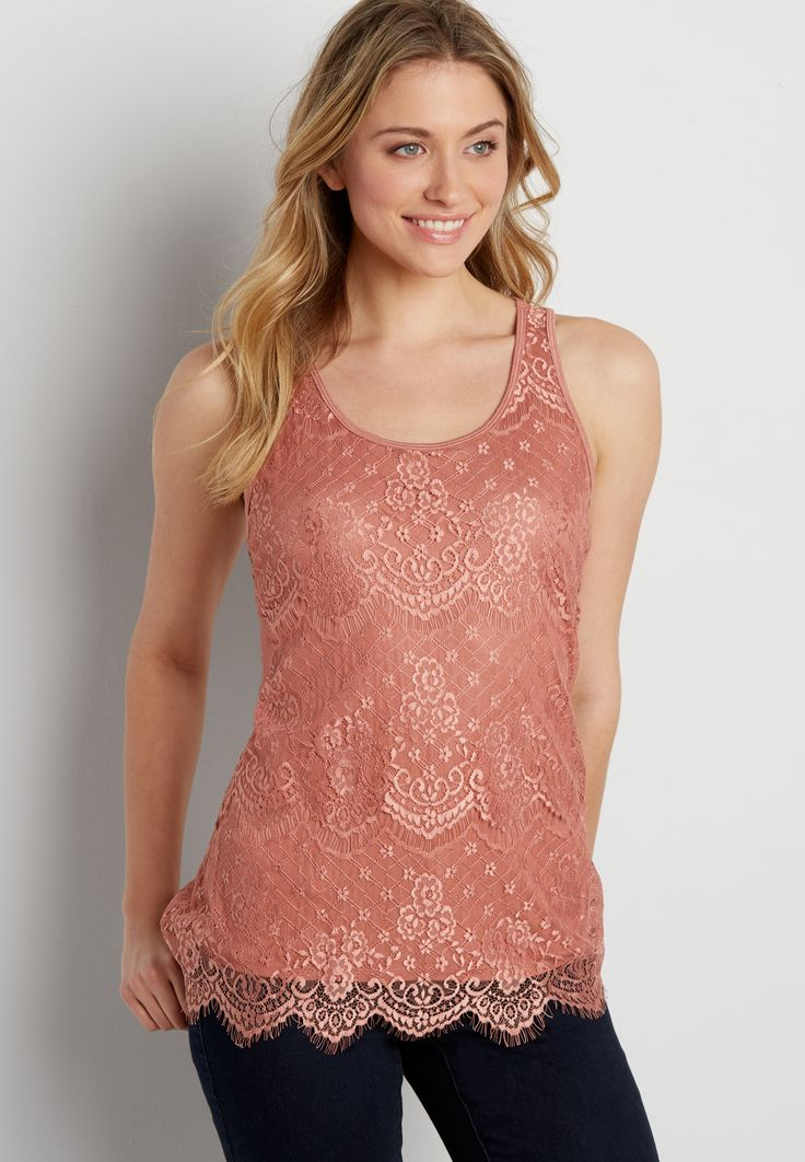 scalloped lace tank (original price, $26.00) available at #Maurices