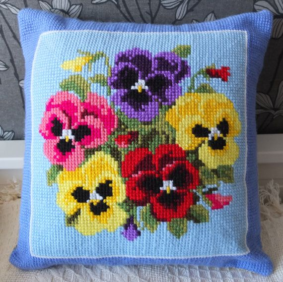 Pansies cross stitch handmade pillow cover cushion by RedRuta
