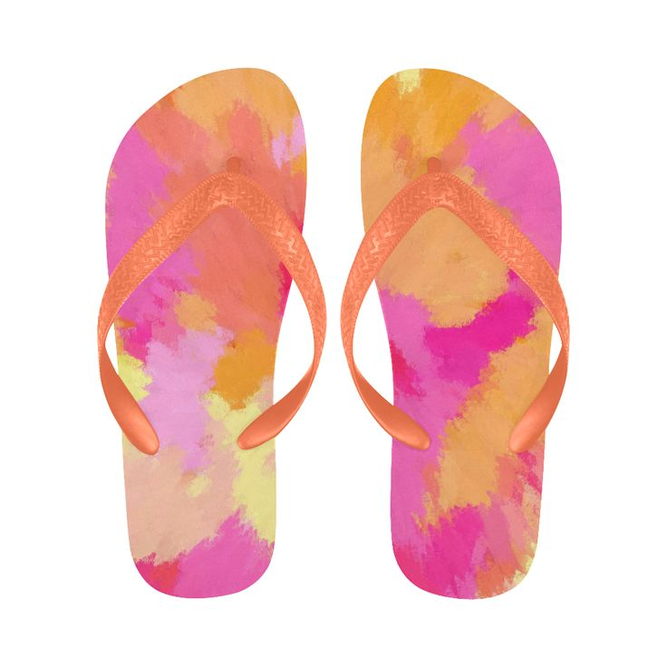 Pink, Orange and Yellow Watercolors Flip Flops  by Khoncepts