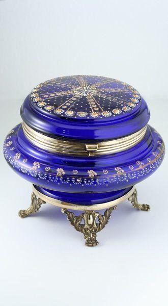 Bohemian Enameled Cobalt Glass Casket Box On Ormolu Base   c.1890-1900