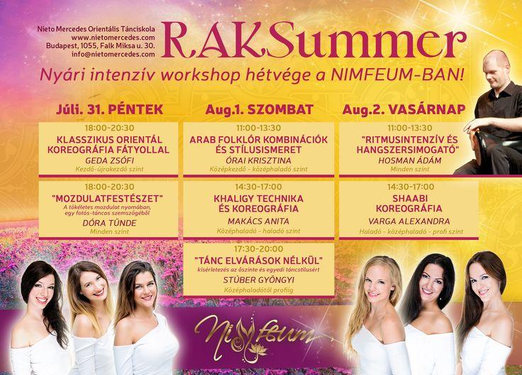 Nyári intenzív workshop hétvége a NIMFEUM-BAN! 2015. július 31. - augusztus 2. Információ és jelentkezés: info@nietomercedes.com és 06 30 952 1988.
