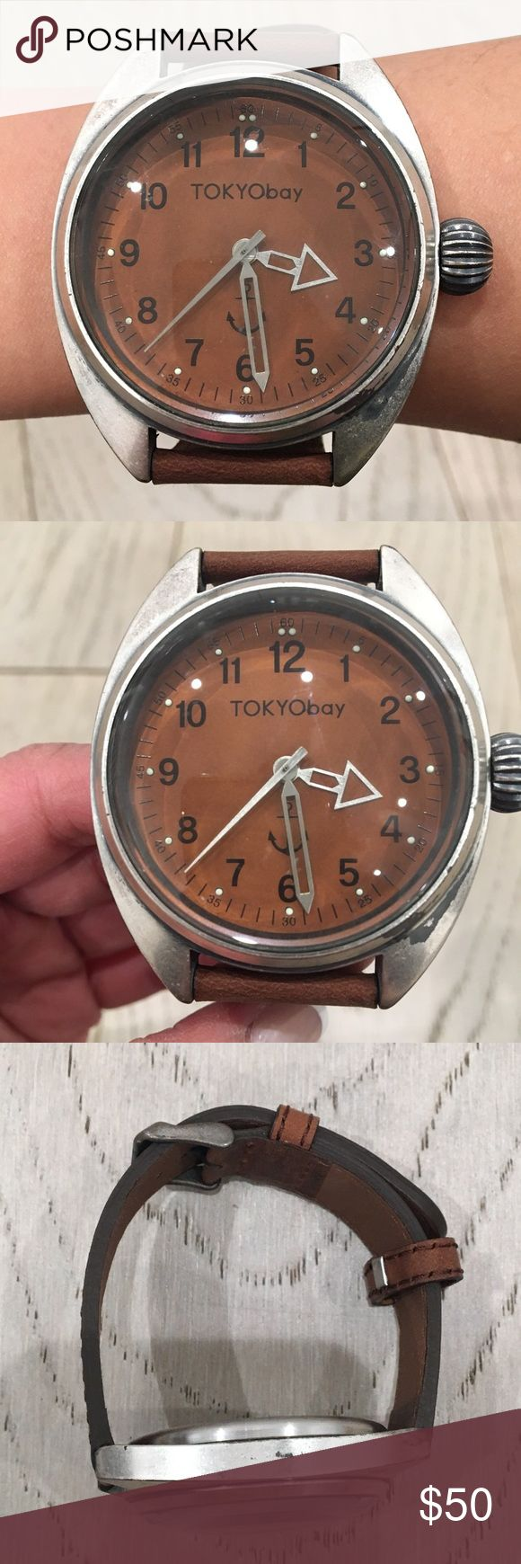 NWOT TOKYObay Brown Leather Watch Tokyo Bay watch with brown leather band. Battery needs to be replaced. No box. Smoke-free home. Sorry no trades. Bundle and save 10%. Offers accepted. TOKYObay Accessories Watches