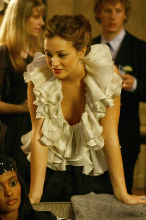 The ruffles, everything else simple, simple colours, ruffles make it romantic low cut sexes it up