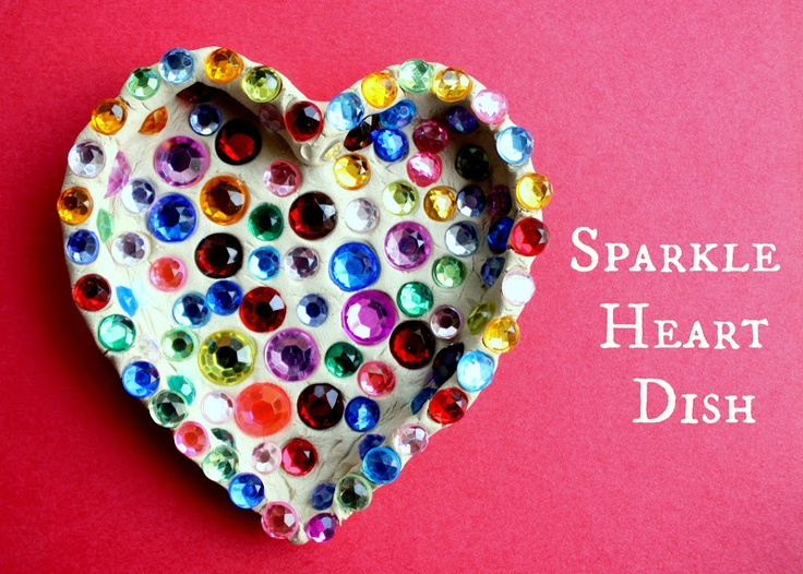 """Fun Kid's Valentine Craft: Sparkle Heart Dish."" You could probably also do this with polymer clay, but the rhinestones might melt a little and lose their shape. Ah, memories."