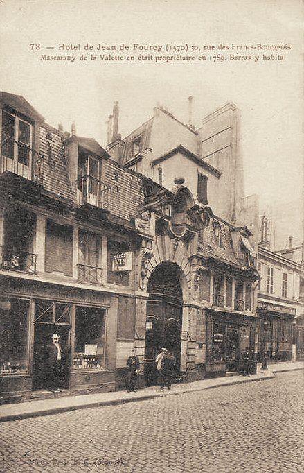 rue des Francs-Bourgeois - Paris 3ème/4ème L'hôtel de Jean de Fourcy (1570), 30 rue des Francs-Bourgeois, vers 1900.