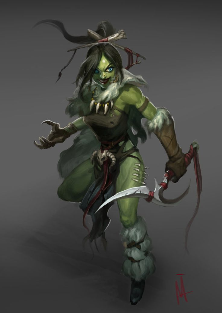 Orc  female  rouge assassin thief tribal warrior
