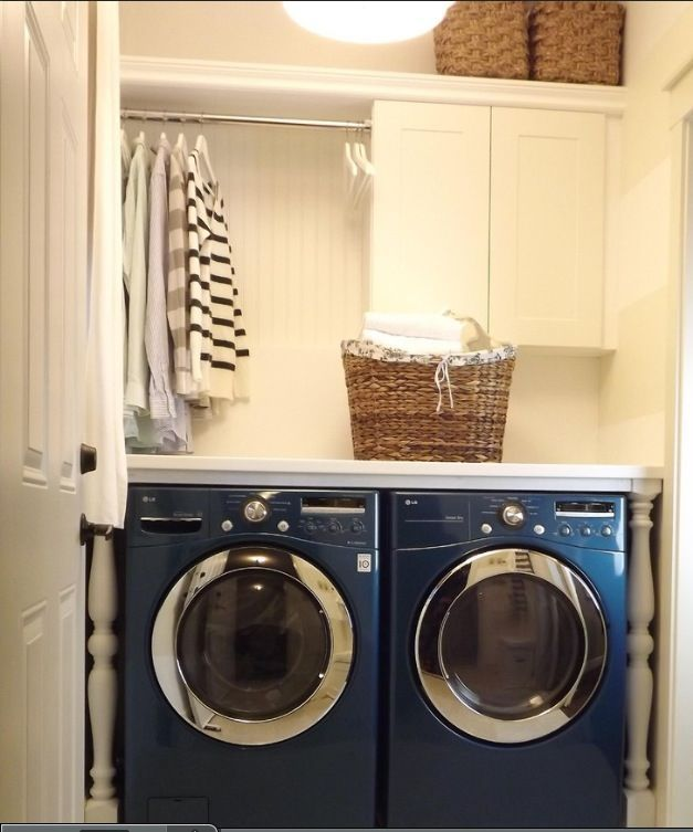 Laundry room idea- I like the organization above the washer
