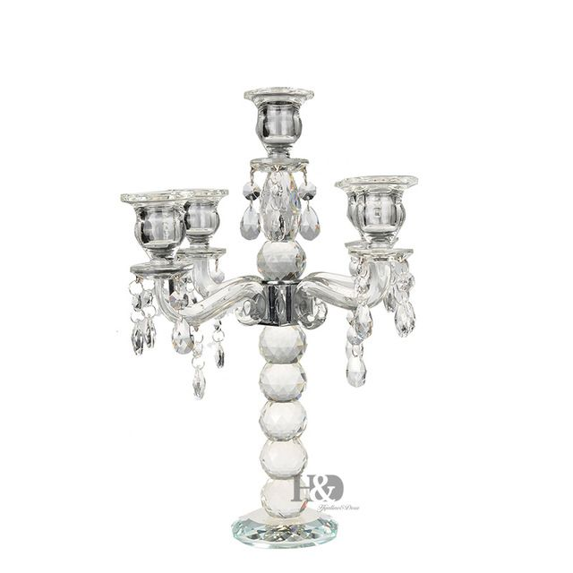 2016 K9 Crystal 5 Arm Crystal Candle Holders centerpieces w/ Prisms Tall Candelabra For Wedding Decoration14.3 Inch Candlestick * Find out more at the image link. #Candleholders