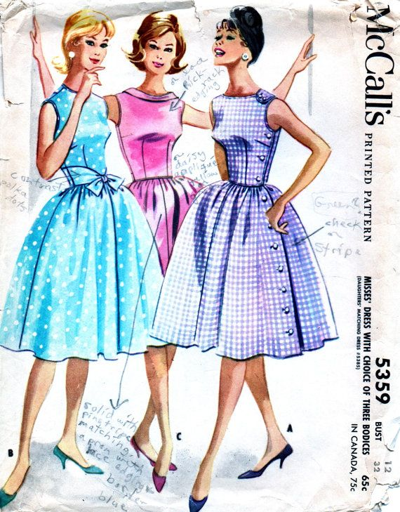 UNCUT Vintage 1960s McCalls Pattern 5359 PRETTY by anne8865