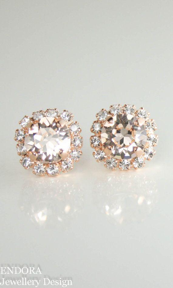 Swarovski bridal earrings    Swarovski silk rose gold stud halo earrings   peach wedding   www.endorajewellery.etsy.com