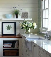 A different type of lower cabinet and backsplash add interest and personality #whitekitchen #kitchen #kitchendesign