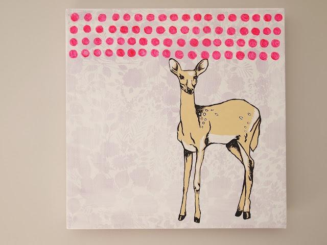 Deer, Acrylic on recycled fabric