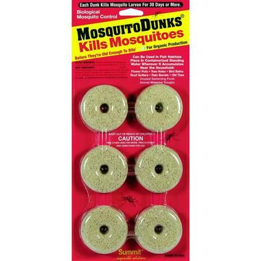 Easy, safe biological control of mosquito larvae that is harmless to all other pond life. Perfect for the pond, fountain, or birdbath. Each dunk lasts 30 days. Pack of6 dunks (Use 1 dunk per 100 ft o