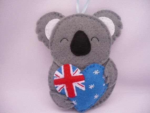 Felt Ornament - Koala Bear Australia Ornament. - Heart - Flag An original and unique ornament for decorations of your Christmas tree, hanging from the