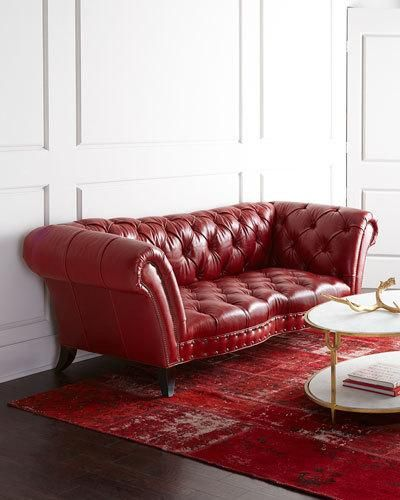 H7LL2 Old Hickory Tannery Bourdeaux Leather Sofa