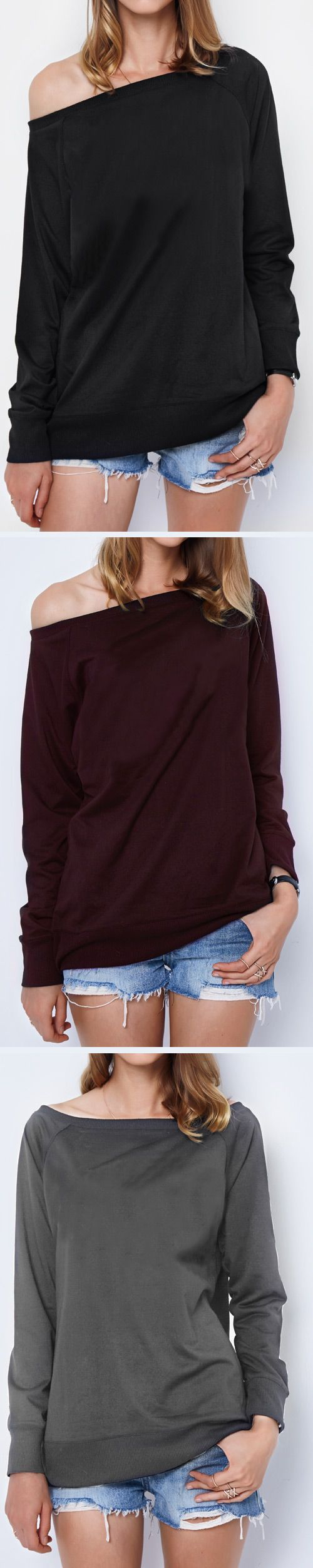 Catch it, Only $19.99 & Short Shipping Time. Easy Return + Refund! We love this one shoulder sweatshirt! The color is a great neutral and will go with so many outfits. Take some fall essentials to your wardrobe at Cupshe.com !