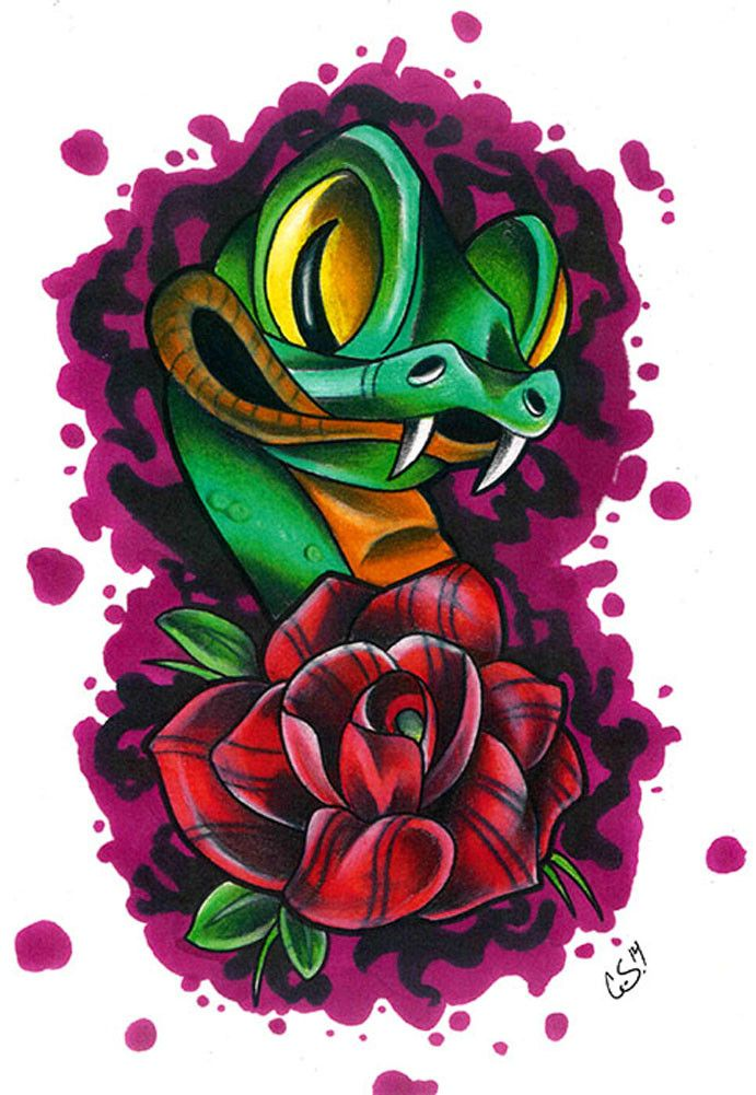 Super cute snake new school tattoo! Title: New School Snake Artist: Corey Smola Made-to-order giclee fine art reproductions on canvas featuring the original artwork of today's hottest tattoo artists.