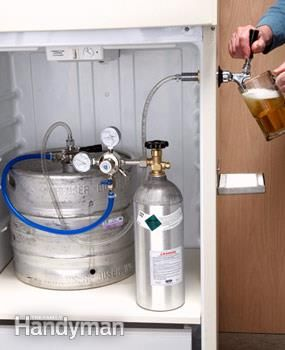 #HowTo Make a Kegerator - Get the #DIY project: http://www.familyhandyman.com/basement/man-cave-ideas