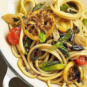 Skillet bucatini with spring veggies
