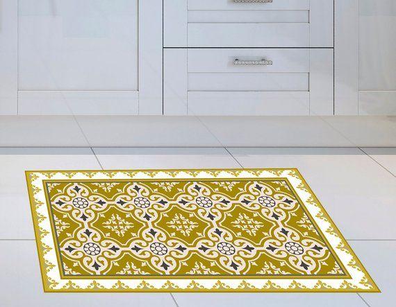 Vinyl Mat With Yellow Tiles Pattern Vinyl Floor Mat Etsy Vinyl Floor Mat Vinyl Flooring Tile Patterns