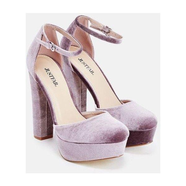 Justfab Pumps Jayla ($40) ❤ liked on Polyvore featuring shoes, pumps, heels, purple, high heel platform shoes, ankle strap high heel pumps, purple pumps, justfab shoes and platform heels pumps