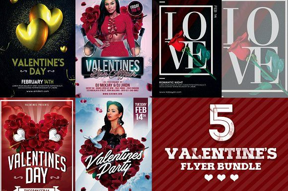 5 in 1 Valentines Day Flyer Bundle by Gayuma on @creativemarket