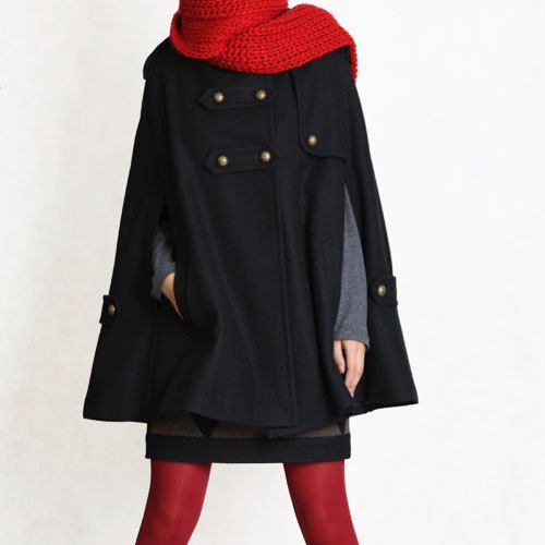 black  winter cape, Wool hoodie cape, double breasted hooded coat, winter cloak with hood , 70% wool FM003--Size L