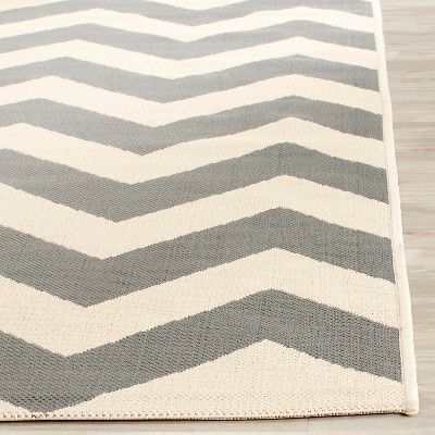 Elvas 2'3 X 10' Runner Outdoor Patio Rug - Gray / Beige - Safavieh