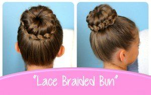 Lace Braid Bun | Cute Updos--cute website with lots of little girls hairstyles and hair tips.