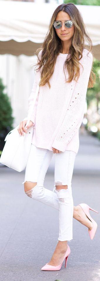 white skinnies + pink Louboutins