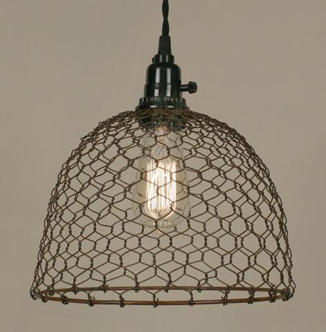 Chicken Wire Dome Pendant Light - Primitive Rust - McDowell Design Co.