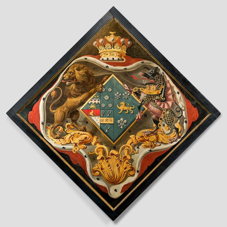 Hatchment of John Baker-Holroyd (d.1821), 1st Earl of Sheffield, and his second wife, Lady Anne North.
