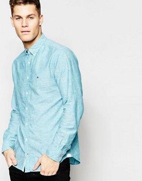 Tommy Hilfiger – Leinenhemd in Mintgrün