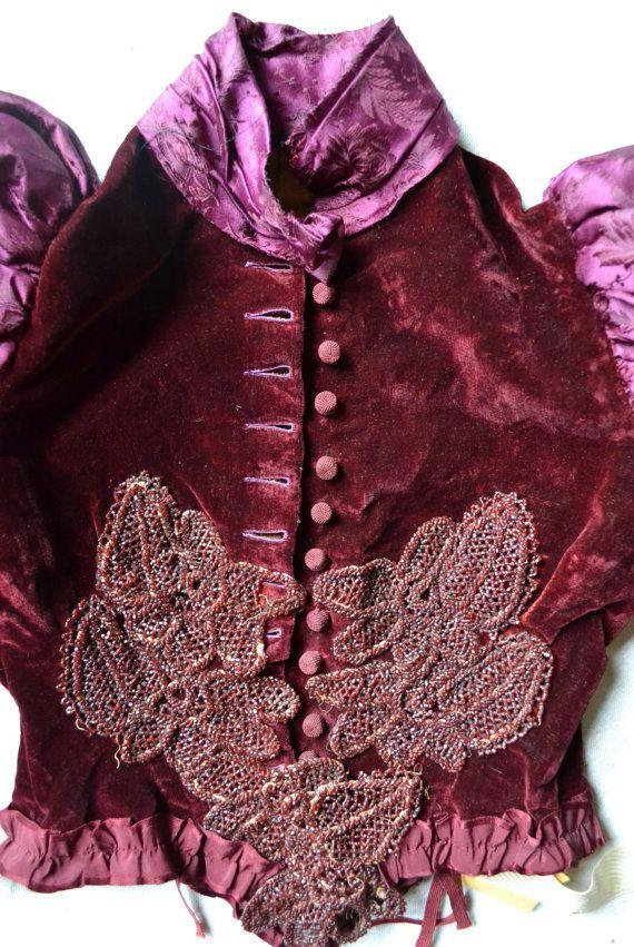 Victorian Corset Blouse Burgundy Velvet 1800s
