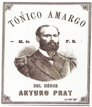 TONICO AMARGO DEL HEROE ARTURO PRAT Marca de fábrica registrada por el comerciante Luis Vortmann, Valparaíso, 1887.