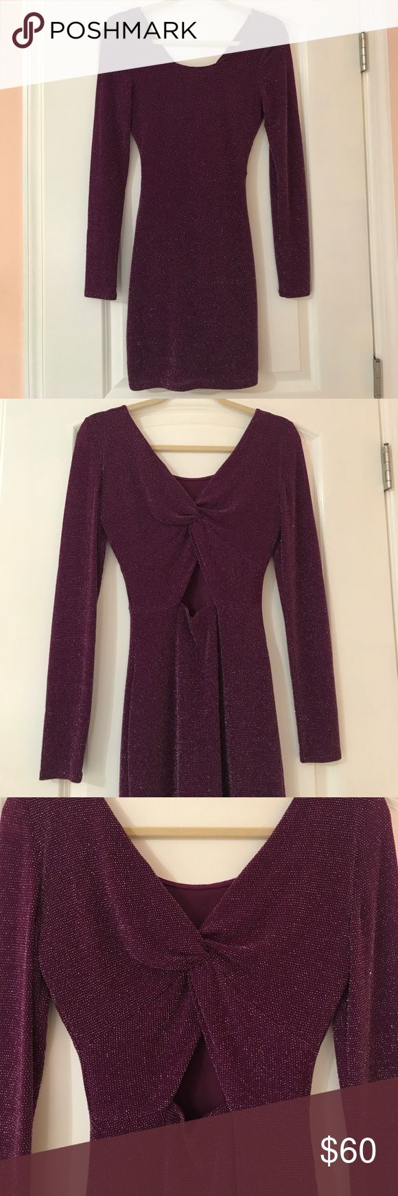 Guess Los Angeles Deep Purple Sparkle Dress Worn a few times but kept in great condition. This deep purple dress with silver sparkles features a beautiful triangle shape cut-out back. It's long sleeves and hits about mid-thigh. Guess Dresses Long Sleeve