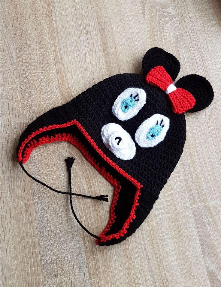 9 Caciulita Minnie Mouse Disney caciula crosetata stoc fes cu urechi copii copil fetita negru neagra Kiko