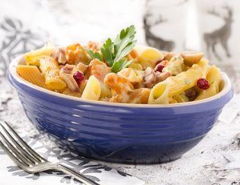 Überbackene Nudeln mit Maroni-Kürbis-Gemüse Rezept