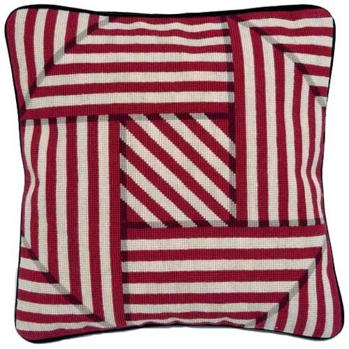 Needlepoint cushion optical trickery from Theo and the Major - amazing.