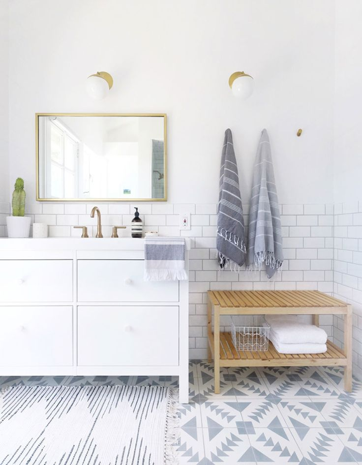 A Farmhouse Modern Tiled Master Bathroom with color. In a neutral Scandinavian Farmhouse style. /