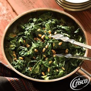 Sauteed Spinach With White Beans And Pine Nuts Recipe — Dishmaps