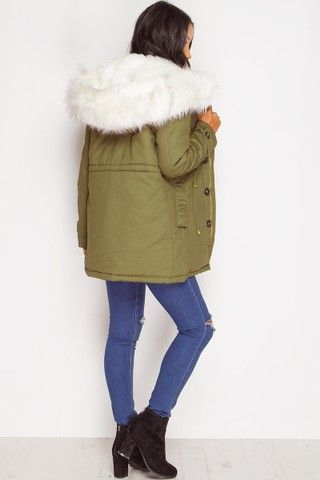 Mollie Khaki & Cream Faux Fur Coat