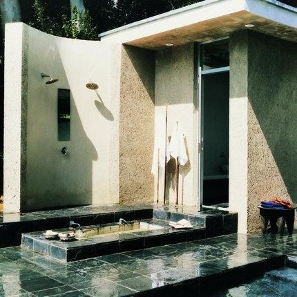 An outdoor bathroom