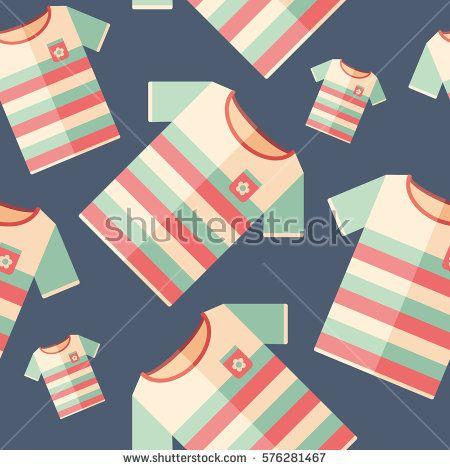 Beach t-shirt flat icon seamless pattern. #summerpatterns #vectorpattern #patterndesign #seamlesspattern