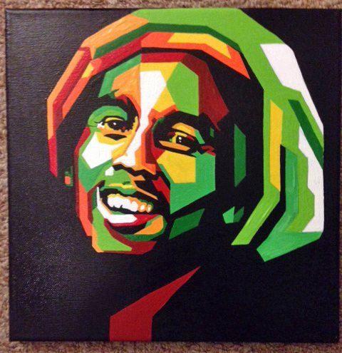 Bob Marley Pop Art Portrait Acrylic On Canvas by BeachFrogPond, $50.00