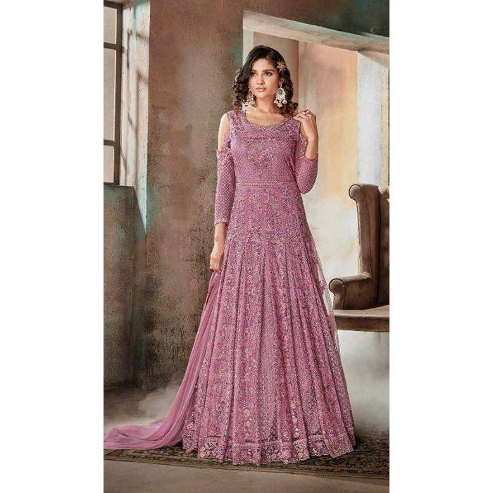 89f8e59022 Pakistani Style Designer Pink Color Net Churidar Kameez - 397047884 #sharara  #salwarkameez #designer